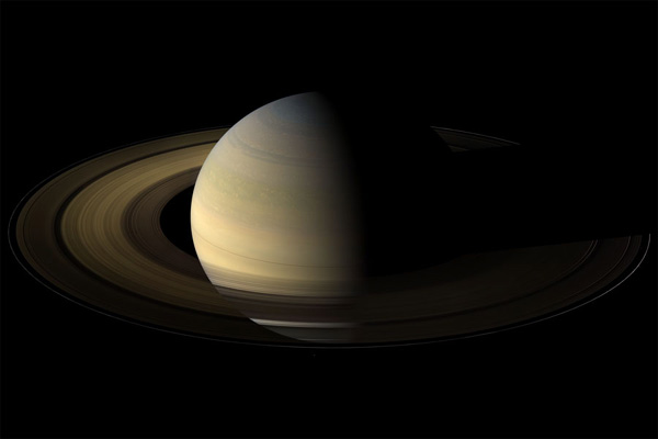 Photograph of Saturn taken from spacecraft Cassini