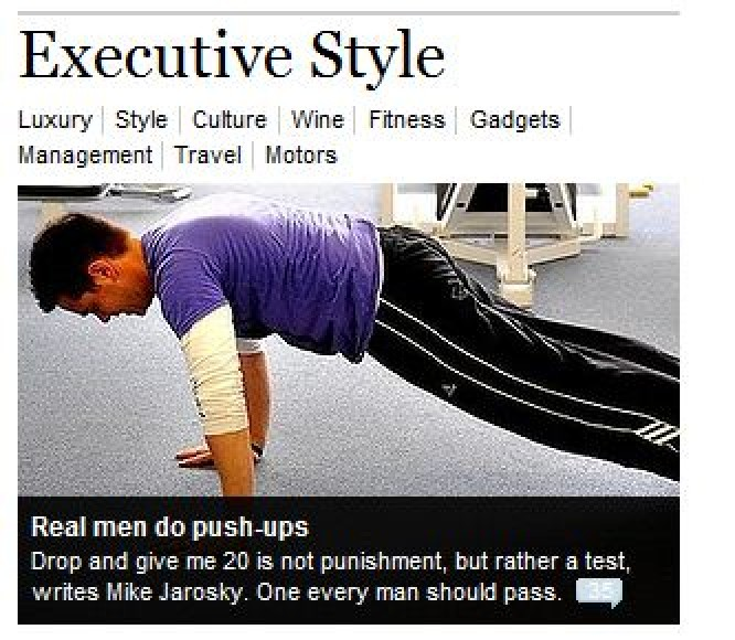 SMH front page clip showing an article about 'giving me 20' (for men) in the Executive Style section