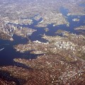 Aerial view of Sydney harbour and surrounds from the north