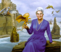 an illustration of an eldery Anne McCaffrey with a backdrop of ocean, cliffs and circling dragons