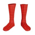 red socks with a black pattern that looks like spiderman's costume