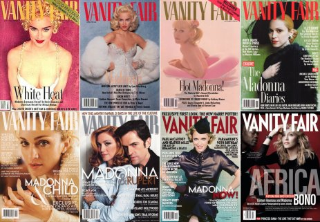 a collage of 8 different Vanity Fair magazine covers featuring Madonna