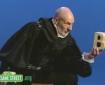 Patrick Stewart in Tudor costume declaiming to the letter B on Sesame Street