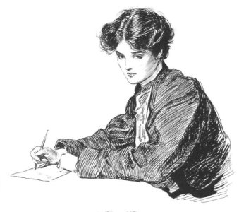 Line drawing Edwardian woman writing.