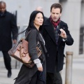 Lucy Liu as Dr Joan Watson & Johnny Lee Miller as Sherlock Holmes, filming Elementary