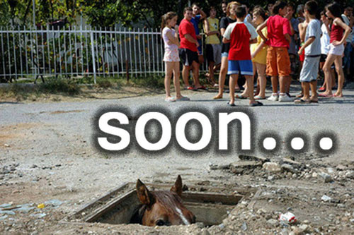 a group of kids in bright summer clothing stands in the background. In the foreground is a square access hatch, open, in the middle of a concrete surface.  Poking out from the access hatch are the ears and eyes of a brown horse. The caption says *soon...*