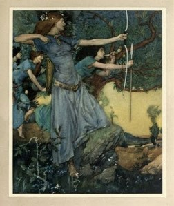 Early 20th Century painting of a woman in a blue medieval dress firing a bow, with other hunters behind her.