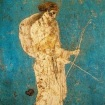 An ancient Roman fresco painting of Diana holding a bow and arrow.