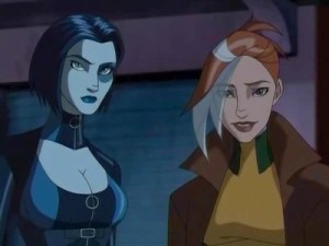 Cartoon screencap of X-Men characters Domino and Rogue