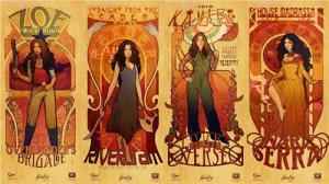 Four-part poster of the Firefly women in the style of Mucha
