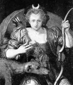 Black and white portrait of Elizabeth I with moon headdress, bow and arrow and hound.