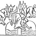 Medieval line drawing of two flying devils pushing a monk off a bridge.