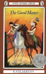 Cover image from Kate Seredys The Good Master: A boy and girl on horses gallop up to a gate. The girl gets there first and opens the gate without dismounting.