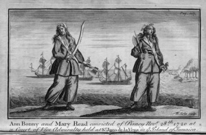 Pen-and-ink drawing of two white women in male dress with swords, ships in the background.
