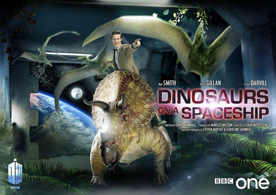 The first thing we notice is what appears to be a museum exhibit showing a stegosaurus and two pterodactyls, then it registers that they're standing in a corridor next to a picture window through which we can see planet Earth and its Moon - then we notice that the Doctor is riding the stegosaurus.