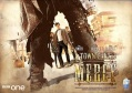 A movie-style poster in Wild West fashion for *A Town Called Mercy* - everything is rendered in a dusty overlay. We see a pair of trousered and booted legs in gunfighter wide stance, but the arm hanging beside where we expect to see a gun holster is instead some sort of cyber-cannon. Through the legs we see the Doctor, Amy and Rory staring the gunfighter down.
