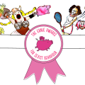 Cartoon of a range of women performing widely varied activities, with the Ernies logo of a flying pink pig centre.