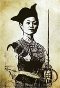 Line drawing portrait of a Chinese woman in 19th century military dress.