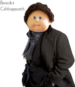 A cabbagepatch doll photoshopped to look like Sherlock Holmes as played by Benedict Cumberbatch