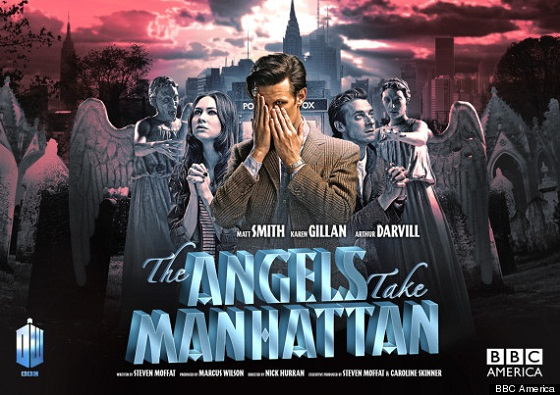 The Doctor, Amy and Rory stand together, the Doctor is covering his face with his hands.  In the distant background is the Manhattan skyline, but immediately behind them are many menacing Weeping Angels