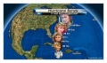 a graphic of the path of Hurricane Sandy, illustrated by headshots of Sandy Olsen from the musical move 'Grease' as played by Olivia Newton John. The graphics start as innocent Sandy and illustrate her transition to wild and steamy Sandy.