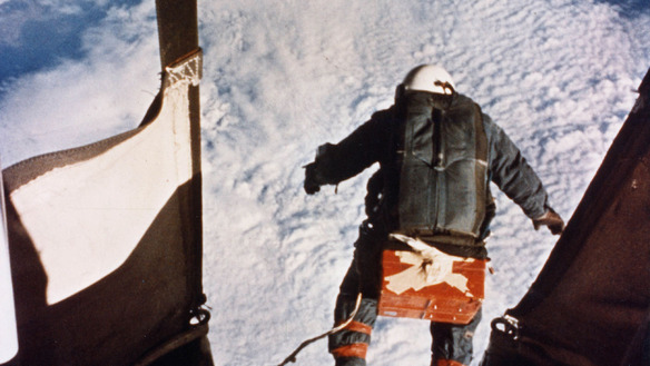 a photograph taken from the helium gondola which took Kittinger through the atmosphere - Kittinger has just stepped off the gondola into space