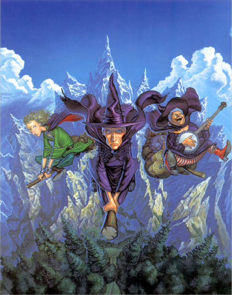 three women in witches' hats are flying high above the trees; in the background are mountains and clouds