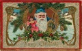 An old Christmas postcard showing Santa holding a doll in one hand and a stick in the other. Santa is wearing a blue robe.