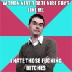 A standard meme image for NiceGuy(TM) - A pale skinned man with dark hair and glasses looks smugly into the lens. The background is blue & pink eighths on the diagonal, and there is text overlaying the image
