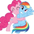A pink cartoon horse is hugging a blue cartoon horse. The pink horse is squeezing tightly and the blue horse is not returning the hug. The pink horse has happy-closed eyes and a blissful smile while the blue horse has eyes wide open and a nervous-open mouth.