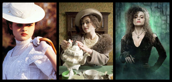 Helena Bonham Carter as Luch Honeychurch (A Room with a View), Queen Elizabeth (The King's Speech), and Bellatrix Lestrange (Harry Potter movies).