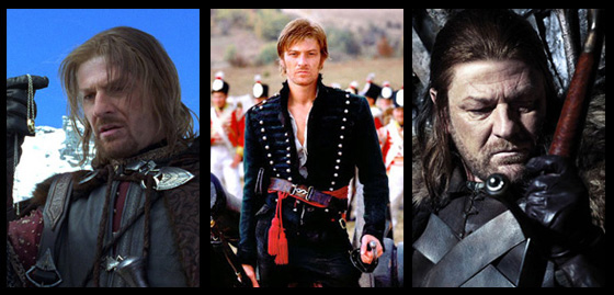Sean Bean as Boromir of Gondor(Lord of the Rings), Richard Sharpe (Sharpe), and Eddard Stark (GOT)
