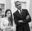 A photo taken inside the Oval Office of the White House featuring President Barack Obama and Olympic gymnast McKayla Maroney