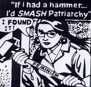 Black and white comic style artwork of a woman holding a hammer with the word FEMINISM on the handle