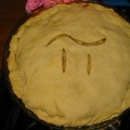 A pie with the symbol Pi carved into its crust.
