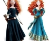 "Two illustrations of the same character side by side for comparison - one shows a teenage girl with wild red hair in a dark green dress holding a bow and wearing a quiver of arrows. The other shows an older glamorous version of supposedly the same girl, with styled flowing curls and a fancy dress with sparkles and fancy sash, striking a ""look at me"" pose."