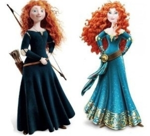 "Two illustrations of the same character side by side for comparison - one shows a teenage girl with wild red hair in a simple dark green dress casually holding a bow and wearing a quiver of arrows on her belt. The other shows an older glamorous version of supposedly the same girl, with styled flowing curls and a fancy aqua dress with a lower neckline and sparkles,  the belt now supports a long and delicate sash, she is striking a ""look at me"" pose."
