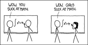 "XKCD cartoon, How It Works. (1): Two men write maths problems on a whiteboard. One says to the other: ""Wow, you suck at math."" (2) A man and a woman at a whiteboard, the woman writes an identical maths problem on the board. The man says ""Wow, girls suck at math."""