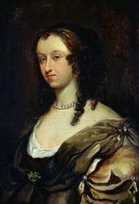 Portrait of a brunette white woman in Restoration dress.