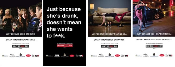 a montage of four sexual assault awareness posters targeting potential offenders