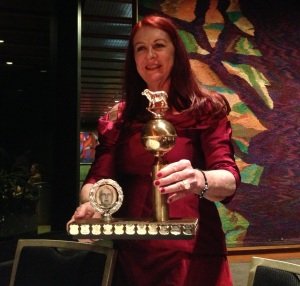 Lynda Boland with the Gold Ernie
