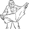 Line cartoon of man looking angry at newspaper.