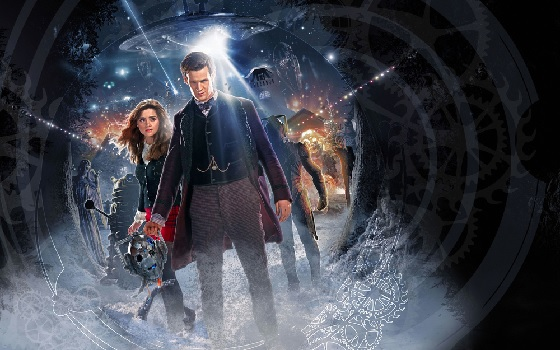 The Doctor and Clara are standing in snow at what looks like the mouth of a cave. The Doctor is holding the head of a Cyberman, behind them we see an intact Cyberman, a Dalek, a Weeping Angel, one of The Silence, and many more figures, weapons and spacecraft in the background which are not clearly distinguishable. There are many high-powered beams looking dangerous too.