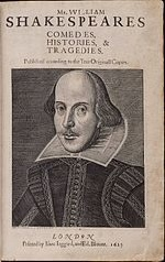 Frontispiece of Shakespeare's Complete Works showing engraving of the playwright.