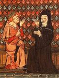 Medieval painting of monk and nun conversing.
