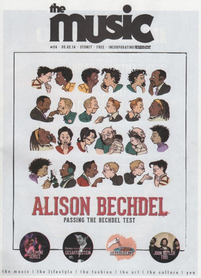 Cartoon of all kinds of people having paired conversations. Text: Alison Bechdel, passing the Bechdel test.