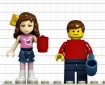 2 Lego minifigs, one a girl from 'friends' one a boy from regular set.