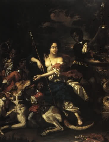 C17th painting of woman surrounded by animals and servants, bare-breasted, with bow.