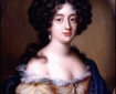 Portrait of C17th pale, brunette woman in off-shoulder gown.