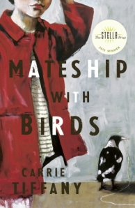 Cover image: half seen child in a red coat over a white and grey striped dress near a magpie with a long white string in its beak against a greyish backdrop,